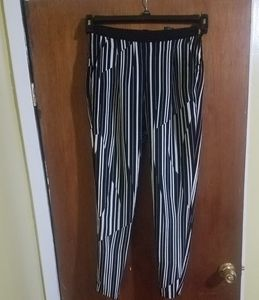 H & M Black and white striped pants